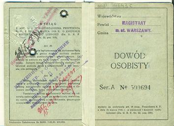 Dowód osobisty Jana Skrzypińskiego