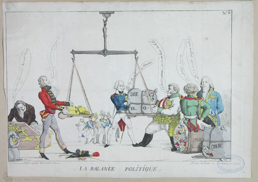 """Karykatura - kongres wiedeński  """"La Balance Politique"""""""