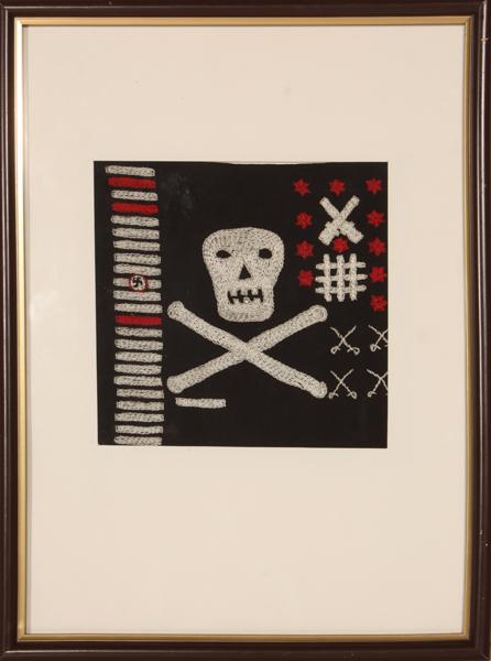 "Miniatura pirackiej flagi ""Jolly Roger"" z okrętu podwodnego ORP ""Sokół"""