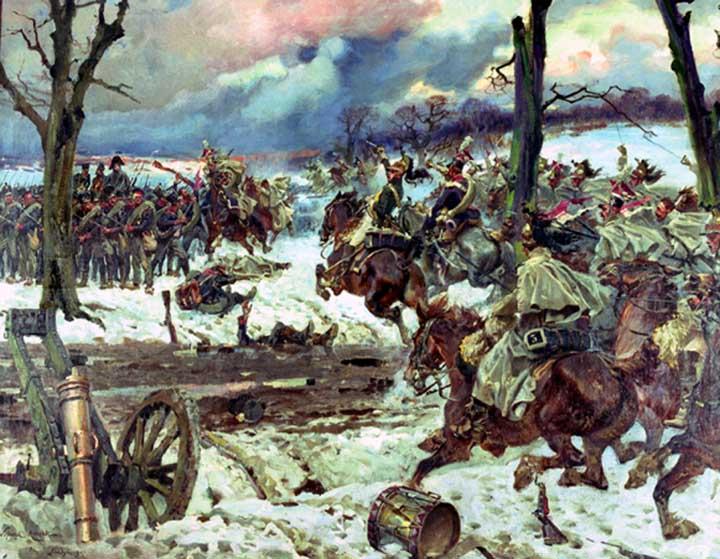 """Obraz: """"Odwrót Blüchera po bitwie pod Montmirail w 1814"""", mal. Wojciech Kossak"""