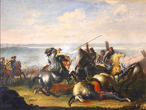 """Obraz: """"Karol X Gustaw w walce z Tatarami w bitwie pod Warszawą 1656 roku"""", malował Jana Filipa Lempke"""