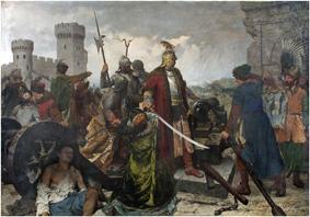"""Obraz """"Obrona Olsztyna 1587""""  Kazimierza Alchimowicza"""