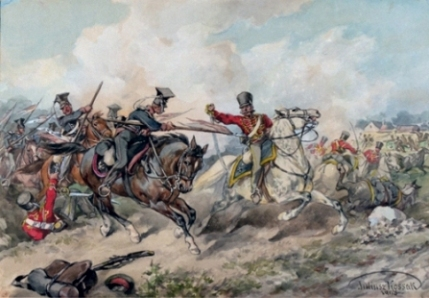 "Obraz: ""Walka 1 pułku ułanów pod Różanem z huzarami, 4.IV.1831"", mal. J. Kossak"
