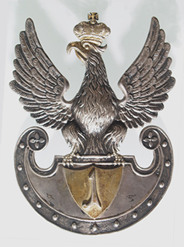 Orzeł na czapkę 1 pułku strzelców pieszych lub 1 pułku piechoty z okresu Królestwa Polskiego.