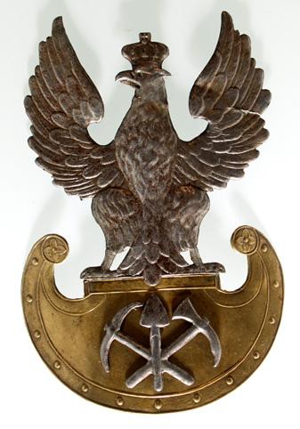 Orzeł na czapkę Batalionu Saperów z okresu Królestwa Polskiego.
