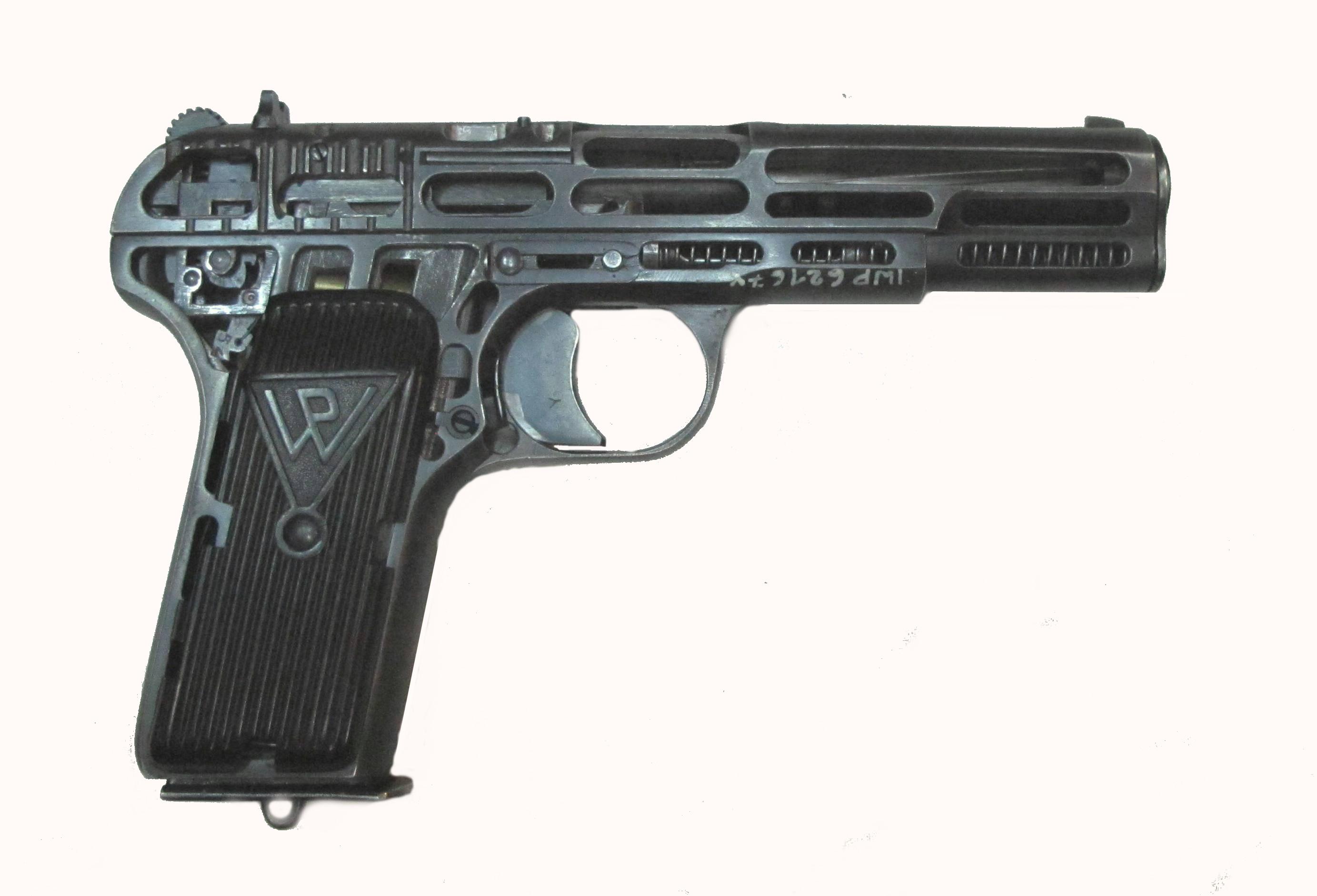 Pistolet wojskowy wz.33 kal. 7,62 mm - przekrój