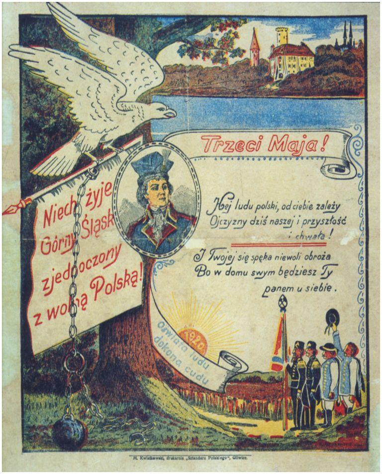 """Plakat """"3 MAJA"""" z 1920 roku wydrukowany na Śląsku"""