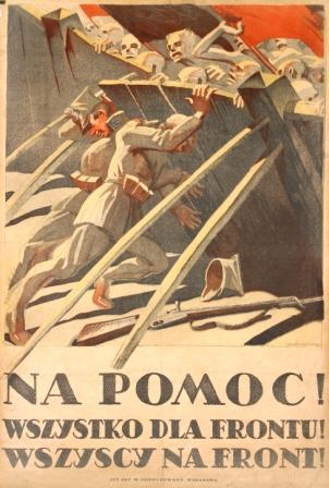 "Plakat: ""NA POMOC! WSZYSTKO DLA FRONTU! WSZYSCY NA FRONT!""."