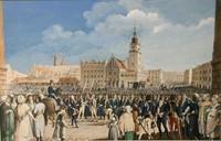 """Karta pocztowa, """"Przysięga Tadeusza Kościuszki na rynku w Krakowie"""", Michał Stachowicz wg obrazu z 1804 r."""