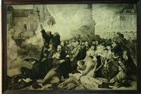 """Obraz, """"Demonstracja patriotyczna na Placu Zamkowym w Warszawie w dniu 8 kwietnia 1861 roku"""", Tony Fleury (po 1861 r.)."""
