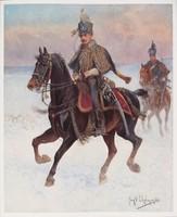 """Obraz ,,10. Pułk Huzarów"""", Jan Chełmiński  (pocz. XX w.)."""