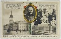 Karta pocztowa wydana z okazji proklamowania  Aktu 5 listopada (1916 r.).