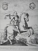 """Reprodukcja miedziorytu, """"Portret konny Zygmunta III Wazy"""", autor nn (XIX w.)."""
