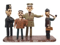 Rzeźba drewniana ludowego artysty wykonana z okazji wprowadzenia stanu wojennego (1981 r.).