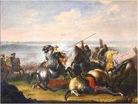 """Obraz, """"Karol X Gustaw w walce z Tatarami w bitwie pod Warszaw� 1656 roku"""", Jana Filipa Lempke (1684 r.)."""