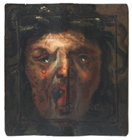 Tarcza pojedynkowa z wizerunkiem Meduzy (XV/XVI w.).