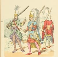 """Rysunek, """"Janczarzy z II poł. XVII w."""", Richard Knötel (XIX w.)."""