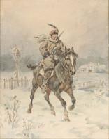 Orderly, Juliusz Kossak, watercolour (1890)