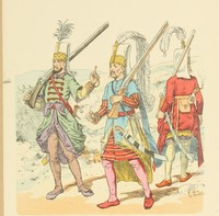 Janissaries of Early 17th Century, Richard Knötel, sketch (19th century)