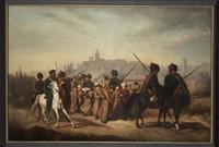 """Obraz, """"Zesłańcy warszawscy w drodze na Sybir w 1863 r. - branka"""", Aleksander Sochaczewski (II poł. XIX w.)."""