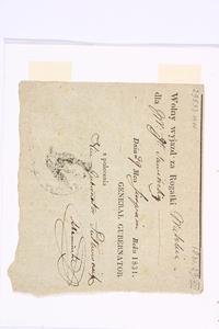 Przepustka dla generałowej Sowińskiej, podpisana przez wicegubernatora miasta Warszawy (29 sierpnia 1831 r.).