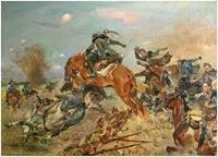 """Obraz,""""Szarża pod Rokitną"""", Wojciech Kossak (1934 r.)."""