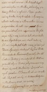 """Fragment kopii dokumentów z Konfederacji Barskiej - """"Wiadomości z Podola o upadku Baru"""", Tom I, 1768"""