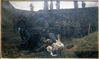 "Obraz, ""Scena rozstrzelania powstańca na stokach cytadeli"", Antoni Piotrowski (1885 r.)."