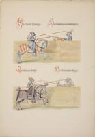 """Rysunek, """"Sceny pojedynkowe"""", Armeria Real de Madrid, Gaspard Sensi (XIX w.)."""