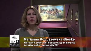 """Prezentacja obrazu W. Kossaka """"Bateria konna na pozycję!"""""""